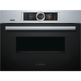 Bosch CNG6764S6B, Brushed Steel Built-In Multifunction Microwave Oven With Added Steam